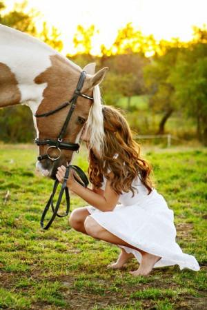 girl, horses, love, paint horse, sunset