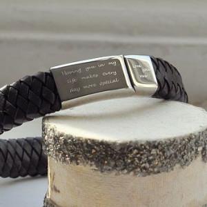 Personalised Men's Engraved Message Bracelet