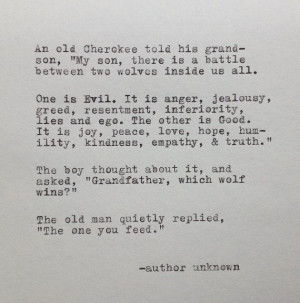 Cherokee Grandfather and Wolf Quote Typed on by farmnflea on Etsy, $10 ...