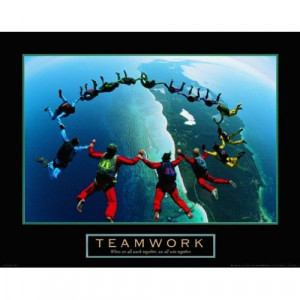 Teamwork Skydiving Ring Motivational Poster Inspirational Art Print