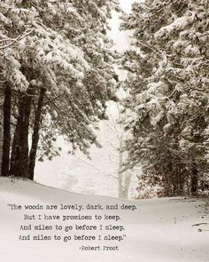 Quote Robert Frost Print Miles to Go Before I Sleep Literary Snow Poem ...