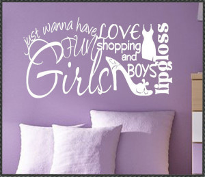 Vinyl Wall Lettering Quotes Girls Love Shopping Boys Word Collage