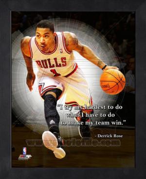 Framed Derrick Rose Chicago Bulls Pro Quotes