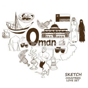 Oman symbols in heart shape concept Vector Art