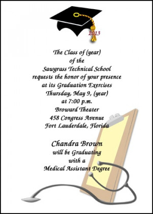 School Medical Assistant Graduation Announcement areBecoming Very ...