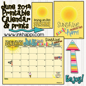 June 2014 calendar from inkhappi.com along with some