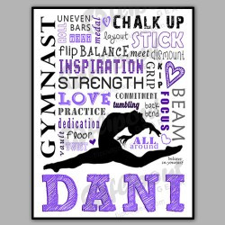 girls gymnastics word art