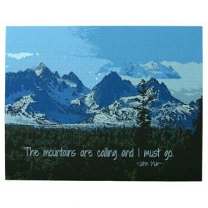 Mountain Peaks digital art - John Muir quote Jigsaw Puzzles