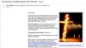 Rep. Grayson blasted over anti-Tea Party email showing burning cross ...