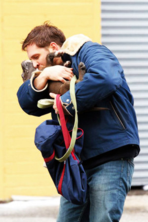 Tom Hardy on the set of Animal Rescue