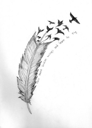 Bird Crow Feather Tattoo Design Picture 3
