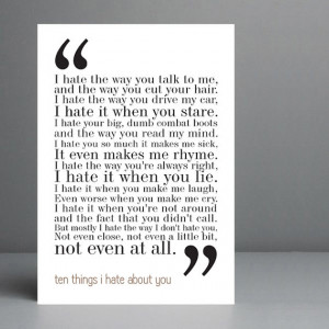 10 Things I Hate About You Movie Quote. Typography Print. 8x10 on A4 ...