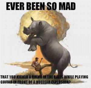 funny meme fire guitar made rhino