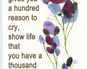 Art Print with cheer up Quote and b lue and purple meadow and poppies ...