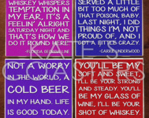 Set of 4 country quotes ceramic til e coasters ...