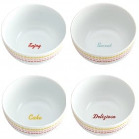 Cake Boss 4-Piece Ice Cream Bowl Set, 'Icing' Pattern with Quotes