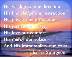 God's wisdom. Quote by Spurgeon