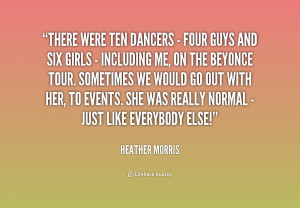 There were ten dancers - four guys and six girls - including me, on ...