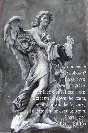 Angel Of Compassion With Inspirational Quote Painting
