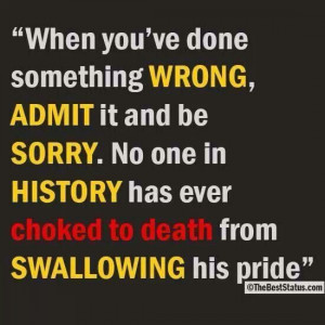 Admit you're wrong
