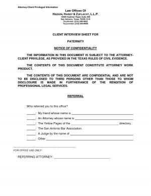 Client Interview Sheet Attorney Privileged Information Law picture