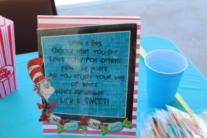 The candy buffet sign.