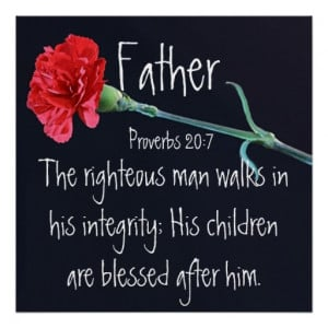 The righteous man bible verse for Father's Day Posters