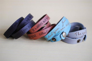 quote custom engraved leather wrap cuff bracelet dark brown leather ...