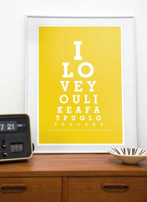 Typography print eyechart poster funny quote art Pug art - I love you ...