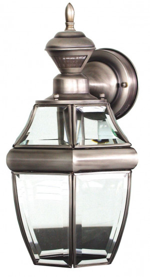 Heath Zenith Sl-4166-SA Solid Brass Motion Activated Lantern, Antique ...