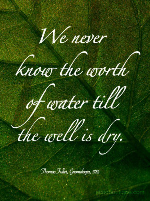 Environment, quotes, sayings, worth of water, dry