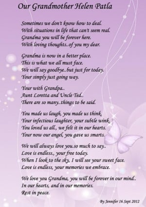 This is what I want to say at my Grandmother's(HELEN'S) funeral