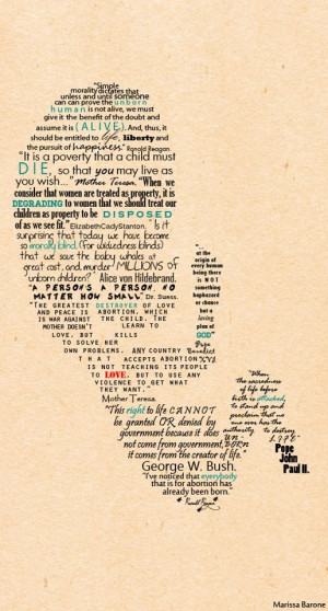 Marissa Barone made this using famous pro-life quotes to create the ...