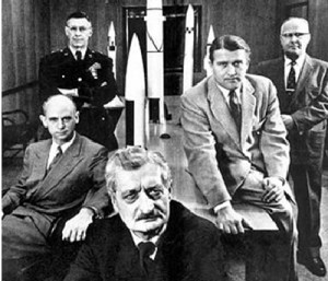 Hermann Oberth front center, Dr. Wernher Braun to the right