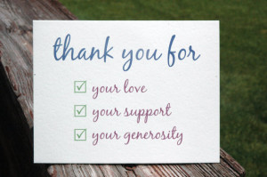 Thank You For Your Love, Support, Generosity ... Check List Thank You ...