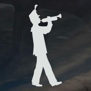 Sticker shown is white on a dark tinted window