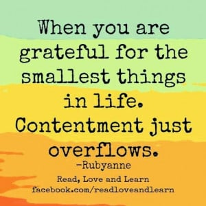 ... the smallest things in life. Contentment just overflows - Rubyanne