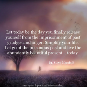 the imprisonment of past grudges and anger. Simplify your life. Let go ...