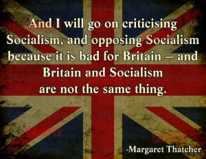 Pro Socialism Quotes Thatcher quote poster