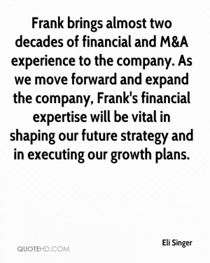 Frank brings almost two decades of financial and M&A experience to the ...