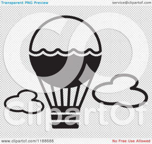 Clipart-Of-A-Black-And-White-Hot-Air-Balloon-Icon-Royalty-Free-Vector ...