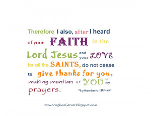 ... Cease To Give Thanks For You, Making Mention Of You In My Prayers