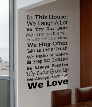IN THIS HOUSE FAMILY WE DO LOVE FUN REAL V4 Quote Vinyl Wall Decal ...