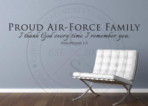 Proud Air-Force Family Vinyl Wall Statement - Philippians 1:3