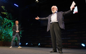 ... David Crystal with his classical actor son Ben Crystal talking about