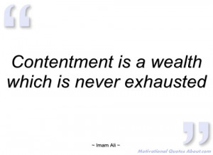 contentment is a wealth which is never imam ali