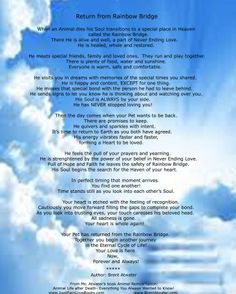 ... Poem | The Official original Return from Rainbow Bridge Poem Angels
