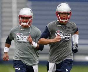 Tom Brady, right, and Jimmy Garoppolo work out during Patriots ...
