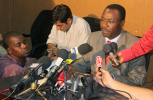 Mahamane Laouali Dan Dah, right, Niger's minister of higher education ...