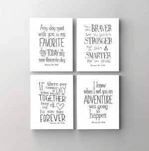Winnie the Pooh quote prints set of 4, nursery art decor, kids wall ...